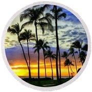 Beautiful Maui Hawaii Sunset Round Beach Towel