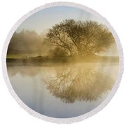 Round Beach Towel featuring the photograph Beautiful Misty River Sunrise by Christina Rollo