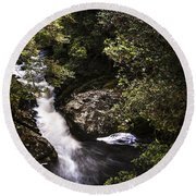 Beautiful Nature Landscape Of A Flowing Waterfall Round Beach Towel