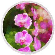 Beautiful Orchids Round Beach Towel