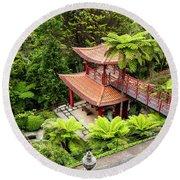 Beautiful Pagoda In Tropical Garden Round Beach Towel