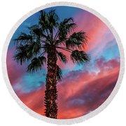 Beautiful Palm Tree Round Beach Towel by Robert Bales