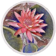 Beautiful Pink Lotus Abstract Round Beach Towel