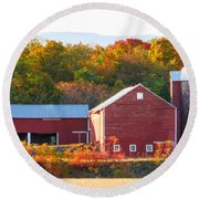 Round Beach Towel featuring the painting Beautiful Red Barn 2 by Lanjee Chee