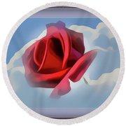 Beautiful Red Rose Cuddled By Cumulus Round Beach Towel