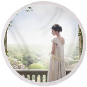 Beautiful Regency Woman Beneath A Wisteria Arch Round Beach Towel