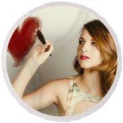 Beautiful Retro Girl Painting Red Love Heart Round Beach Towel