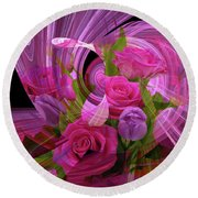 Beautiful Rose Bouquet Montage Round Beach Towel