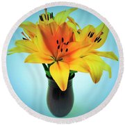 Round Beach Towel featuring the photograph Beautiful Royal Lilies  by Ray Shrewsberry