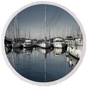 Beautiful Sailboats In The Harbor Round Beach Towel