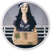 Beautiful Sailor Girl Holding Military Ammo Box Round Beach Towel