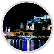 Round Beach Towel featuring the photograph Beautiful Salzburg by David Morefield