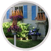 Beautiful Ship Flower Boxes 2 Round Beach Towel by Living Color Photography Lorraine Lynch