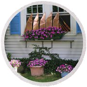 Beautiful Ship Flower Boxes Round Beach Towel by Living Color Photography Lorraine Lynch