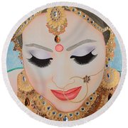 Beautiful Sikh Bride Round Beach Towel