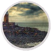 Beautiful Skies At Portpatrick 2 Round Beach Towel