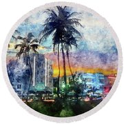 Beautiful South Beach Watercolor Round Beach Towel by Jon Neidert