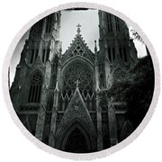 Beautiful St Patricks Cathedral Round Beach Towel