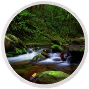 Beautiful Stream In Tremont Smoky Mountains Tennessee Round Beach Towel