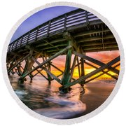 Beautiful Sunset In Myrtle Beach Round Beach Towel by David Smith