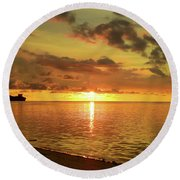 Beautiful Sunsets Guam Round Beach Towel by Scott Cameron