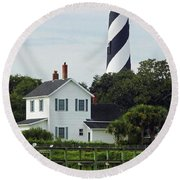 Beautiful Waterfront Lighthouse Round Beach Towel