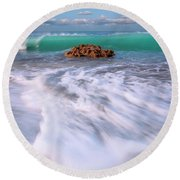 Beautiful Waves Under Full Moon At Coral Cove Beach In Jupiter, Florida Round Beach Towel