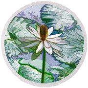 Round Beach Towel featuring the painting Beautiful White Water Lilies Flower by Lanjee Chee