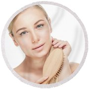 Beautiful Woman Combing Her Hair Round Beach Towel