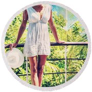 Beautiful Woman In The Beach House Round Beach Towel