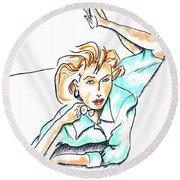 Beautiful Woman, Reclining -- Portrait Of Woman On Floor Round Beach Towel