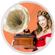 Beautiful Woman With Gramophone Isolated On White Round Beach Towel