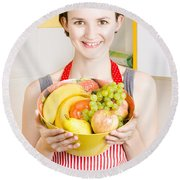 Beautiful Woman With Smile And Fresh Fruit Bowl Round Beach Towel