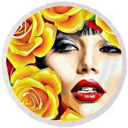 Beautiful Woman Yellow Roses Pop Art Round Beach Towel