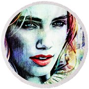 Round Beach Towel featuring the digital art Beautiful Woman by Zedi