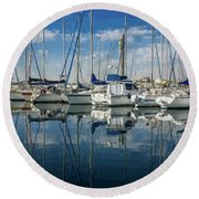 Beautiful Yachts Moored In The Marina Round Beach Towel