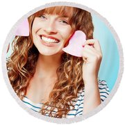 Beautiful Young Woman In A Love Heart Romance Round Beach Towel