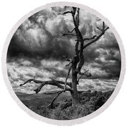 Beautifully Dead In Black And White Round Beach Towel
