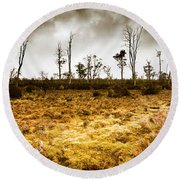 Beauty And Barren Bushland Round Beach Towel