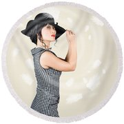 Beauty And Fashion Girl Posing In Falling Feathers Round Beach Towel