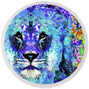 Round Beach Towel featuring the painting Beauty And The Beast - Lion Art - Sharon Cummings by Sharon Cummings
