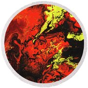 Beauty And The Beast - Powerful Red Yeellow And Black Abstract Art Painting Round Beach Towel