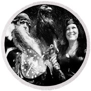 Round Beach Towel featuring the photograph Beauty And The Beasts by Bob Christopher