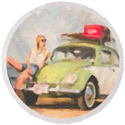 Round Beach Towel featuring the digital art Beauty And The Beetle - Road Trip No.1 by Serge Averbukh