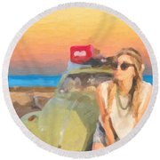 Round Beach Towel featuring the digital art Beauty And The Beetle - Road Trip No.2 by Serge Averbukh