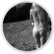 Beauty And The Rocks Round Beach Towel by Brad Scott