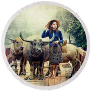 Beauty And The Water Buffalo Round Beach Towel