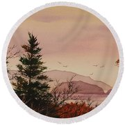 Round Beach Towel featuring the painting Beauty At The Shore by James Williamson