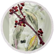 Beauty Berry Branch Round Beach Towel