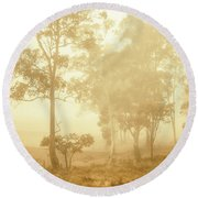 Beauty In A Forest Fog Round Beach Towel
